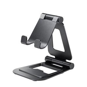 2つのヒンジで無段階に角度と高さが調整できる、コンパクトなタブレット用アルミスタンドを発売