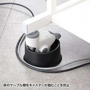 使用例 床のケーブル類をキャスターが踏むことを防止