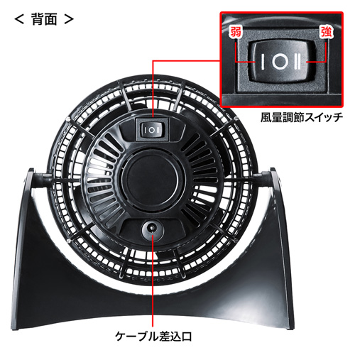 USB-TOY81BKUSB卓上扇風機(ブラック)